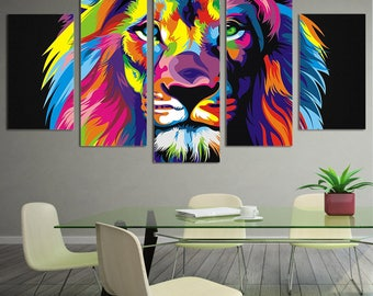 Lion Wall Art, Lion Canvas Art, Watercolor Canvas Art, Lion Watercolor Canvas Print, Lion Wall Decor Framed, Lion Painting