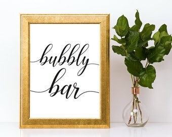 Bubbly Bar Sign Downloadable PDF Wedding Printable Champagne Bar Prosecco Bar