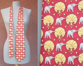 Vintage FENDI Silk Novelty Tie - FENDI Elephant Motif Necktie