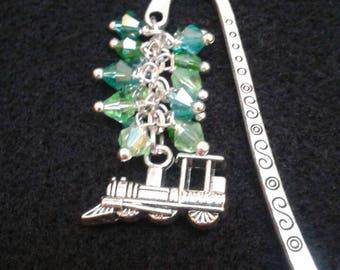 Train glass bead bookmark