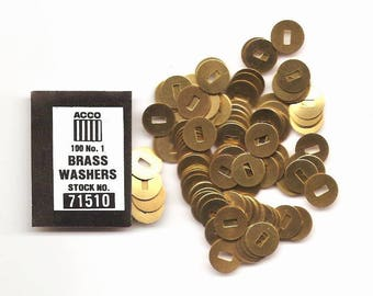 Brass Paper Fastener Washers - 2 Packs = 200 Washers