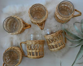 Woven Wicker Cup Holders And Glasses set of 6 Boho Kitchen/Bar/Home Decor