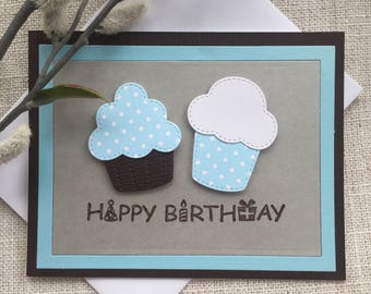 Simple Handmade Happy Birthday Card with Cupcakes