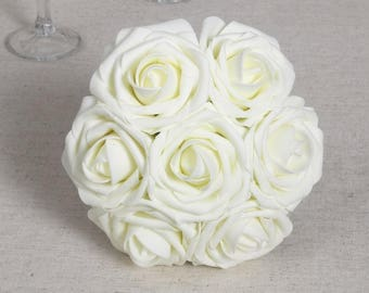 Artificial Flowers 50pcs Ivory Real Looking Artificial Roses w/Stem for Wedding Bouquets Centerpieces Party Baby Shower Decorations DIY