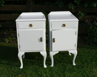 Queen Anne style bedside cabinets