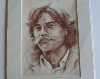 Portrait of Jean Ferrat Reproduction on paper A4 art + mat