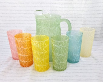 Colorcraft Shat R Pruf Spaghetti String Pitcher and 6 Glasses