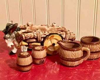 Ceramic Pal-Mar Donkey and Cart with Salt and Pepper Shakers with Cream and Sugar