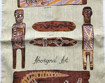 Vintage Aboriginal Art Tea Towel