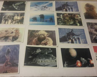star wars empire strikes back topps large cards 1980 14  different plus one duplicate