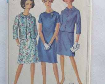 Vintage 1960's Simplicity Pattern - Simplicity 6978 - 1967 Princess-Line Dress With Jacket - Miss Size 14