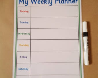 A4 Weekly Planner, Laminated 160 gsm card , Reusable, dry wipe, meal planner, family planner, weekly organiser,