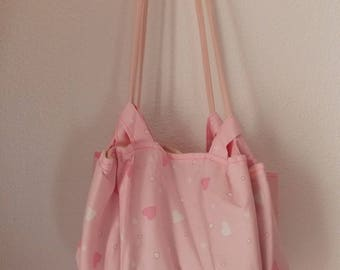 Shoulder bag in pink fabric with heart motif for teenager