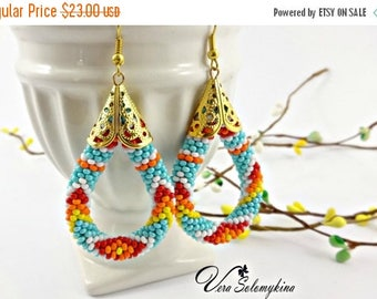 CIJ SALE Turquoise beaded earrings, Native American  inspired earrings, Seed bead earrings, Ethnic earrings, Crochet Rope, Native beadwork j