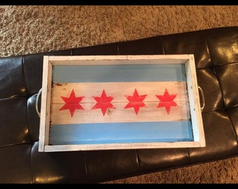 Handcrafted Chicago Flag decorative drink tray.