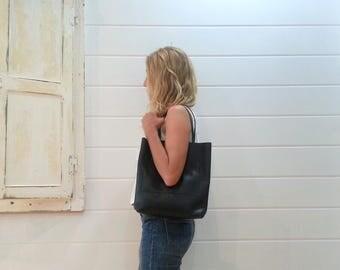 Black leather handmade tote bag