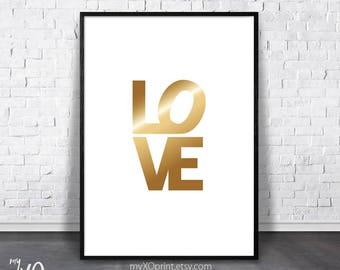 Love Poster, Gold Love Printable Art, Modern Love Sign, Love Print, Gold Word Decor, Word Wall Print, Typography Wall Art, Wedding Gift Idea