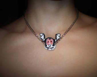 Bunnicula, vegetarian vampire rabbit necklace!
