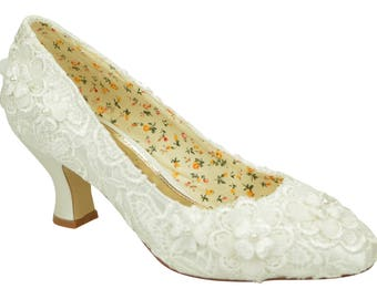 Ivory Lace with Flower Detail Mid Heel Bridal Weddings Courts