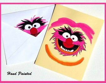 Sesame Street Animal Card,Sesame Street Card,Hand Painted Card,Muppet Babies Card,Any Occasion Card,Blank Card,Animal Sesame Street Art