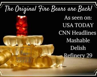 "Fire Bears! Cinnamon Whisky gummy bears like the ""fireball"" shot 4oz package"