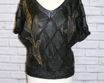Size 12 vintage 80s short batwing sleeve jumper patchwork/crochet leather (HY09)