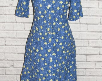 Size 12 vintage 80s short sleeve button flared midi dress blue floral (HS44)