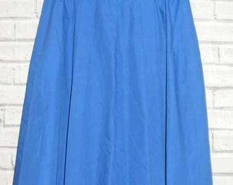 Size 12-14 vintage 80s high waist flared midi skirt pleated front blue (IC16)