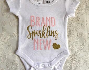 Newborn Onesie, Baby Gift, Short sleeve onesie, Pink and gold sparkle HTV vinyl, Size 0000 Newborn