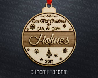 Our First Christmas Ornament - Personalized - Laser engraved