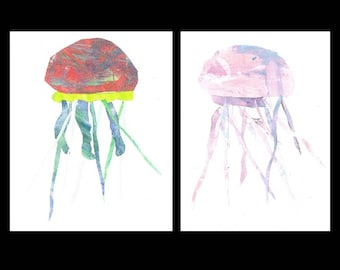 Jellyfish Cards, Child Artwork Greeting Card Set of 2 unique collage art cards. Elementary student art fundraiser. Made in Alaska home decor