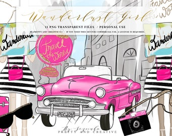 Wanderlust Girl Travel Clipart, Travel Girl, Fashion Travel, Pink Car, Vintage Car, Maps, Sunglasses, Bag, Rome, Clip Art Fashion