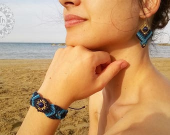 Brass and macramé earrings and bracelet-Odessa Odessa Earrings and Bracelet Brass and Macrame