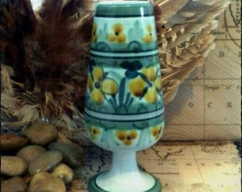 Flora Gouda Holland Vase Model 1040 Design Yellow Iris - Pottery