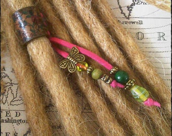 VEGAN - XS/S - Unique hand crafted, up-cycled genuine leather dread/hair cuff/bead with beaded tails.