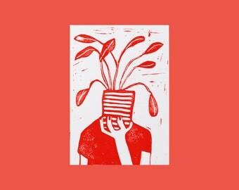 Planthead • Postcard (A6) Blockprint