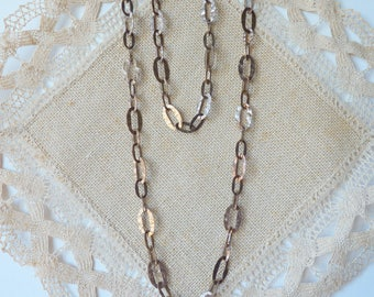 """Antique Copper Chain Necklace B Italy Hammered Texture Vintage Chain, Copper Chain 36 """" Long Chain Necklace, Vintage  Long  Hammered Costume"""