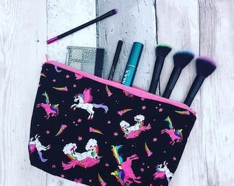 Unicorn wash bag, unicorn makeup bag, unicorn fabric, rainbow fabric, rainbow wash bag, rainbow make up bag, cloud fabric, sanitary bag
