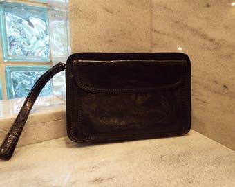 Vintage ESCAPADE Black Wristlet Clutch Purse