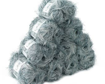 10 x 50 g effect yarn LEA with fringes, #211 grey