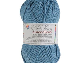 10 x 50g Strickgarn Linen Blend, #90 blau