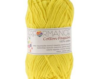 10 x 50 g knitting wool cotton passion 100% cotton, #0121 yellow