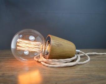 Oak Wood Plug In Pendant Light