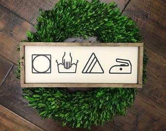 Laundry Sign | Laundry Symbols | Laundry Room Sign | Laundry Room Decor | Wood Sign | Farmhouse Decor | Farmhouse Sign | Laundry Decor