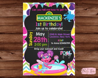 Abby Cadabby Invitation - Abby Cadabby  Pool Party Invitation - Sesame Street Invitation - Sesame Street Pool Party Invitation - POOL PARTY