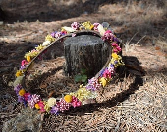 Wreath of preserved wildflowers