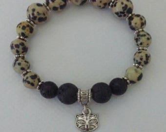 Beaded Aromatherapy Bracelet, Dalmatian Jasper, Cat Charm