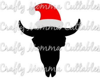 Christmas Cow Skull SVG // Total of 8 files!! // Wild and Free SVG //  Merry Christmas Cut File // Christmas Silhouette File