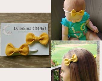Baby girl mustard bow elastic headband and bow hair clip set