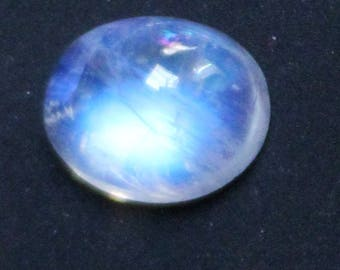 Ring Size Moonstone Natural White Rainbow Blue Fire Moonstone Oval Cabochon Attractive Loose Gemstone 8 x 10 MM  3.45 Carat Gemstone